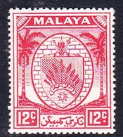 Malaysia-Negri Sembilan SG 51 1952 Arms, 12c Scarlet, Mint Hinged - Negri Sembilan