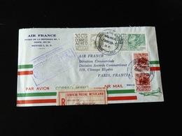 LETTRE PREMIER VOL POSTAL  MEXICO - PARIS  PAR RECOMMANDE SERVICE POSTAL MEXICAIN  POUR LA DIRECTION D'AIR FRANCE - Airmail