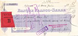 BANQUE FRANCO-SERBE FISCAL STAMP  1937 - Assegni & Assegni Di Viaggio