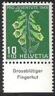 "Schweiz Suisse Svizzera 1948: Pro Juventute  Zu 126 Mi 515 Yv 468 ** MNH & Tab ""Grossblütiger Fingerhut"" (SBK CHF 4.20) - Toxic Plants"