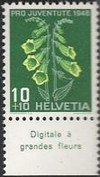 "Schweiz Suisse Svizzera 1948: Pro Juventute  Zu 126 Mi 515 Yv 468 ** MNH & Tab ""Digitale à Grandes Fleur"" (SBK CHF 4.20) - Piante Velenose"