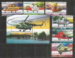 Fameux Helicoptères: Eurocopter,Sikorsky,Kawasaki,Westland,etc. Serie Complète + Bloc-feuillet Neufs ** - Hubschrauber