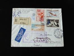 LETTRE RECOMMANDE POUR RIO DE JANEIRO ET RETOUR  25 IEME ANNIVERSAIRE TRAVERSEE ATLANTIQUE SUD PAR JEAN MERMOZ - Airmail