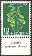 """Schweiz Suisse Svizzera 1948: Pro Juventute  Zu 126 Mi 515 Yv 468 ** MNH & Tab """"Digitalis Ambigua Murray"""" (SBK CHF 4.20) - Toxic Plants"""