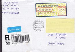 Czech Republic PRIORITAIRE & Registered Einschreiben Labels OSTRO NAD OHRI 2010 BRØNDBY STRAND Denmark - Tschechische Republik