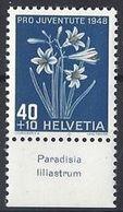 """Schweiz Suisse Svizzera 1948: Pro Juventute  Zu 128 Mi 517 Yv 470 ** MNH & Tab """"Paradisia Liliastrum"""" (SBK CHF 11.00) - Other"""