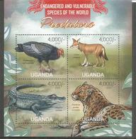 Faune En Danger D'extinction : Loup D'Abyssinie,Condor De Californie,Léopard De L'Amour,etc. Bloc-feuillet Neuf ** - Stamps