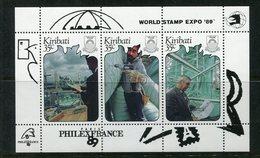 Kiribati 1989 PhilexFrance 89 - 2nd Issue - Sheetlet MNH (SG MS311a) - Kiribati (1979-...)