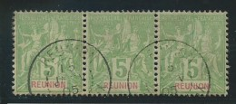 REUNION: Obl., N° YT 46 X 3, Bande, B Centrage, Qq Dts Rousses, B - Reunion Island (1852-1975)