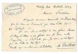 WALY (55) Carte Commerciale Publicitaire Entier Postal 1879 M TOLITTE - Sonstige Gemeinden