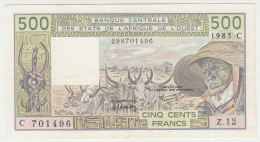 WEST AFRICAN STATES C = BURKINA FASO  500 FRANCS 1985 VF++ Pick 306Ci - États D'Afrique De L'Ouest