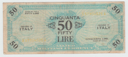 Italy 50 Lire 1943 A VF Pick M20a (ERROR Yellow Serial) - [ 3] Military Issues