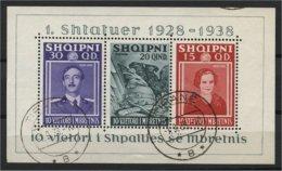 ALBANIA, SOUVENIR SHEET F/VF USED 1938 - Albanie