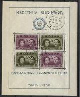 ALBANIA, SOUVENIR SHEET WEDDING 1938 VFU - Albanie