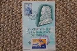 Carte Postale Affranchie Oblitération IVè Centenaire De La Naissance D'Henri IV Pau 1953 - Cachets Commémoratifs