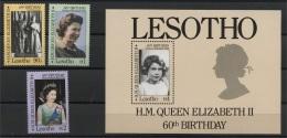 LESOTHO, 60th BIRTHDAY OF QUEEN ELIZABETH SET + SS, MNH SET - Lesotho (1966-...)