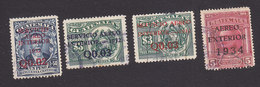 Guatemala, Scott #C20-C22, C26, Used, Regular Issues Surcharged And Overprinted, Issued 1932-34 - Guatemala