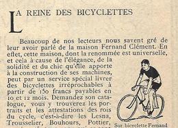 Pub 1906 La Reine Des Bicyclettes FERNAND CLEMENT à Levallois Perret (originale De 1906) - Publicités