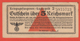 Ww2 Gutchein über 1 Reichsmark Billet Monnaie Militaires Allemands Der Chef Des Oberkommandos Der Wehrmacht 5x10.4 Cms - 1939-45