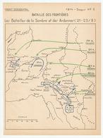 MILITARIA PLAN CROQUIS 1914 FRONT OCCIDENTAL BATAILLE DES FRONTIERES - BATAILLES DE LA SAMBRE ET DES ARDENNES 21 23 AOUT - 1914-18