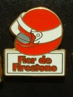 PIN'S PNEU FIRESTONE - FIER DE FIRESTONE - CASQUE ROUGE - Badges
