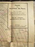 Rare : Carte Des Environs De Paris Pour Le Calcul De L'indemnité De Retour Des Véhicules De Place - Taxi - KFZ