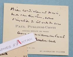 CDV Autographe Paul PUGLIESI CONTI - Avocat Ancien Député De Paris Né à Saint-Pons-de-Mauchiens - Carte De Visite - Autographes