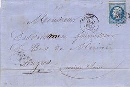 19019# CHER LETTRE Obl PC + VIERZON 1858 T15 - Marcophilie (Lettres)