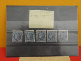 Lot 5 Timbres Neuf 1947 > Série N°791 - Y&T - 1945/47 Surchargé 1fr - Coté 0,75€ - France
