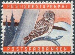 OWL Finland 1950's Post Bank Savings Stamp Bird Eule Hibou Revenue Vignette Finnland Sparmarke Finlande Timbre D'épargne - Owls