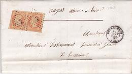19024# CREUSE LETTRE TRIPLE PORT Obl PC + BOURGANEUF 1855 T15 - Marcophilie (Lettres)