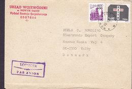 Poland Par Avion Lotnicza NOWYM SACZU 1990 Cover Brief VALBY Denmark Overprinted & KATYN Stamps Franking - 1944-.... Republik