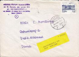 Poland KATOWICE 1985 Cover Brief ALLERØD (Arr. Cds.) REadressed HUMLEBÆK Denmark Gdansk Harbour Stamp - 1944-.... Republik