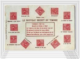 Carte Postale Avec Timbres Representes - Le Nouveau Secret (semeuse Lignee) - Francobolli (rappresentazioni)