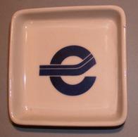 """001 POSACENERE PORCELLANA RICHARD GINORI Posacenere Quadrato (cm 10 X 10) Decorato Con Una """"e"""" Stilizzata Porcellana """"Ar - Porcellana"""