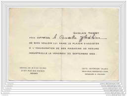 Inauguration Des Magasins De Mesure Industrielle Par Ghislain Thiery - 1955 - Faire-part