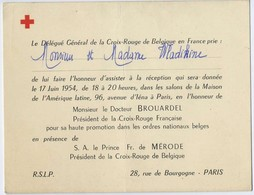 Croix Rouge De Belgique 1954 Visite Du Dr Brouardel President Croix Rouge Francaise Et Prince De Merode Wladikine - Cartes De Visite