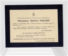 Deces Mr Adrien Tallon - 22/12/1944 A Neuilly - Faire-part