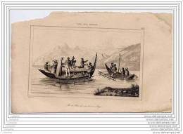 PAPOUASIE NEW GUINEA  - Engraving 19th Century - Rawak Island - Embarcation Bateau Boat - Prints & Engravings