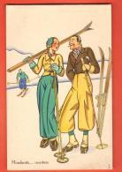 DA07-02  Illustratore Italiano, Mondanità In Montana. Ski. Editore A. Diena Torino. 10 - 1900-1949