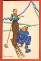 DA07-03  Illustratore Italiano, Primo Attaco. Cervinio. Matterhorn. Ski. Editore A. Diena Torino. 11 - 1900-1949