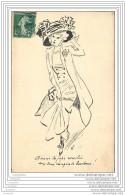 Carte Peinte A L Encre De Chine - Mode - Femme Au Chapeau Et Jupe Corselet - Paris (unique !) - Moda