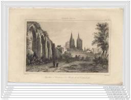 Gravure Du 19e Siecle - Aqueducs A Coutances Et Abside De La Cathedrale - Estampes & Gravures