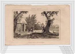 NOUVELLE CALEDONIE - Gravure 19e Siecle - Indigenes Lancant La Sagaye - Estampes & Gravures