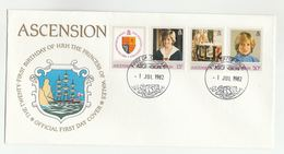 1982 ASCENSION  FDC Stamps PRINCESS DIANA BIRTHDAY HERALDIC LION  Cover Royalty Sailing Ship - Ascension
