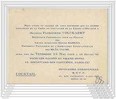 Remise Croix Legion Honneur A Florimond Volckaert Directeur Des Lignes Aeriennes Belges SABENA 1953 - Cartoncini Da Visita
