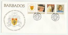 1982 BARBADOS FDC Stamps PRINCESS DIANA BIRTHDAY Heraldic Tree Fish Bird  Cover Royalty - Barbades (1966-...)