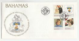 1982 BAHAMAS FDC Stamps PRINCESS DIANA BIRTHDAY Heraldic Sailing Ship Tree Fish Bird Cover Royalty - Bahamas (1973-...)