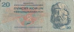 TCHECOSLOVAQUIE 20 KORUN 1970 VG+ P 92 - Tchécoslovaquie