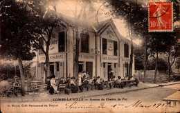 """CPA - SEINE ET MARNE - Combs La Ville - Avenue Du Chemin De Fer - Café Restaurant """"Maison Beyot"""" - Combs La Ville"""